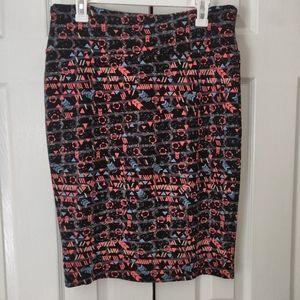 LuLaRoe Pink & Black Pencil Skirt